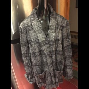 Lauren Conrad Black Gray Plaid Blazer Sweater XXL